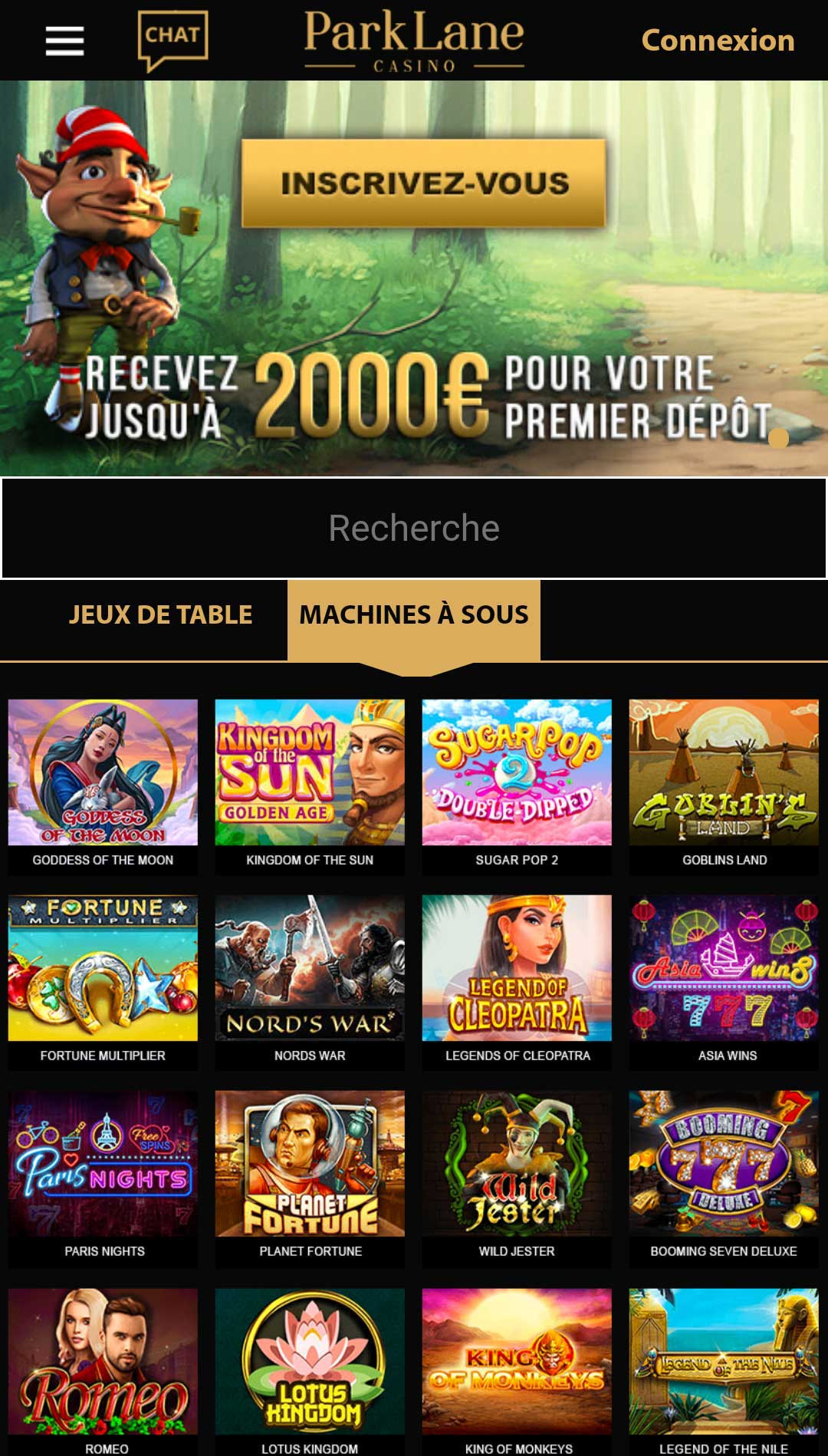 Park lane Casino Mobile France